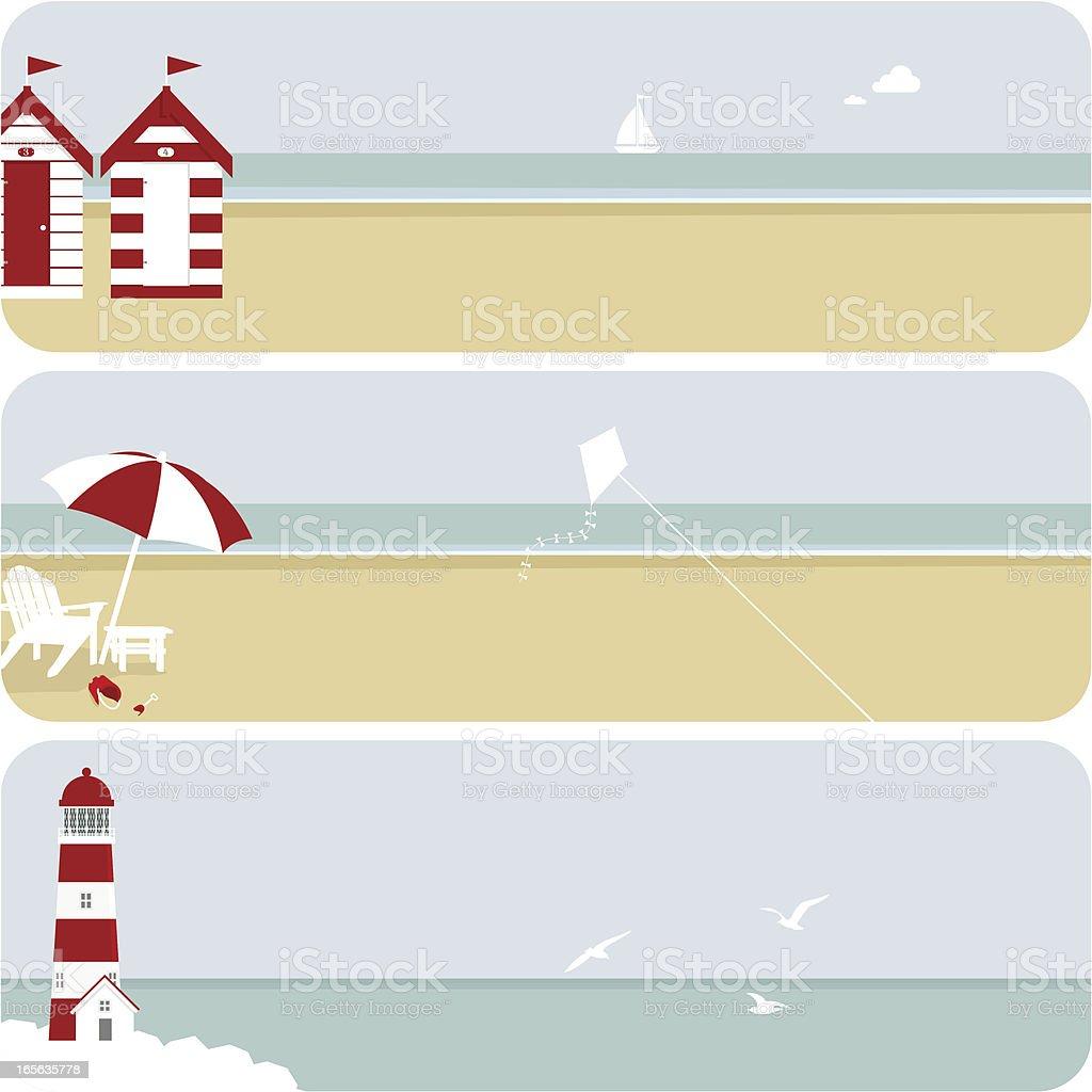 Summer banner beach set illustration vector vector art illustration