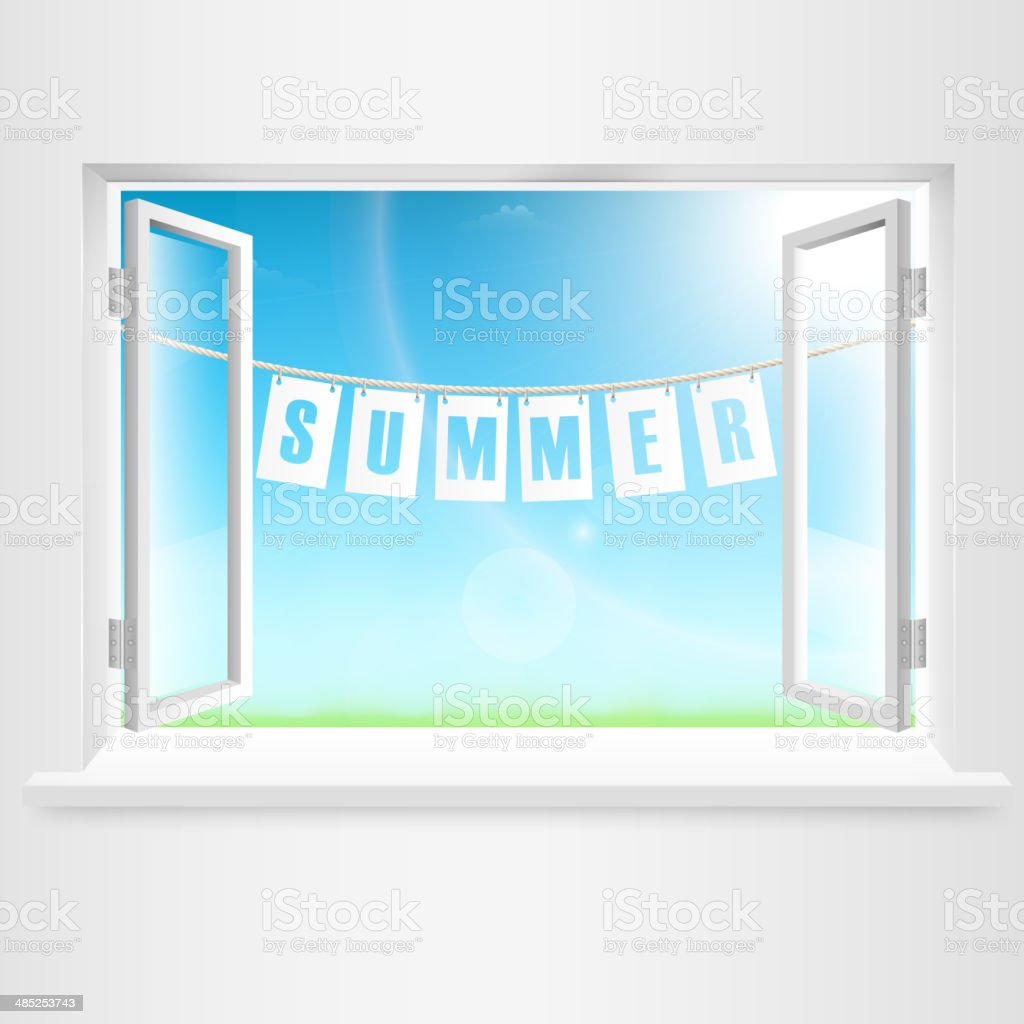 Summer Banner Hanging Out Of Window. royalty-free stock vector art