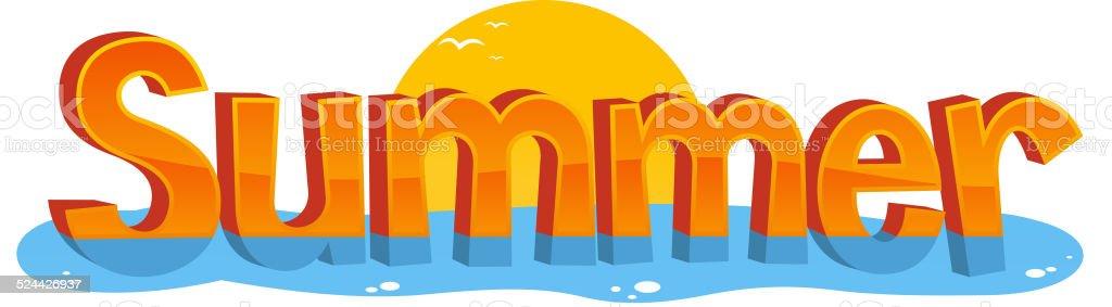 Summer Banner Sign Sun Water vector art illustration