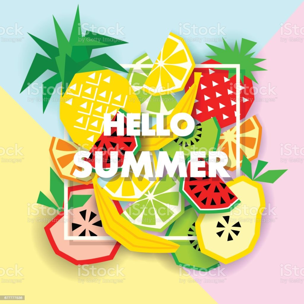Summer banner with fruit, place for text, vector vector art illustration