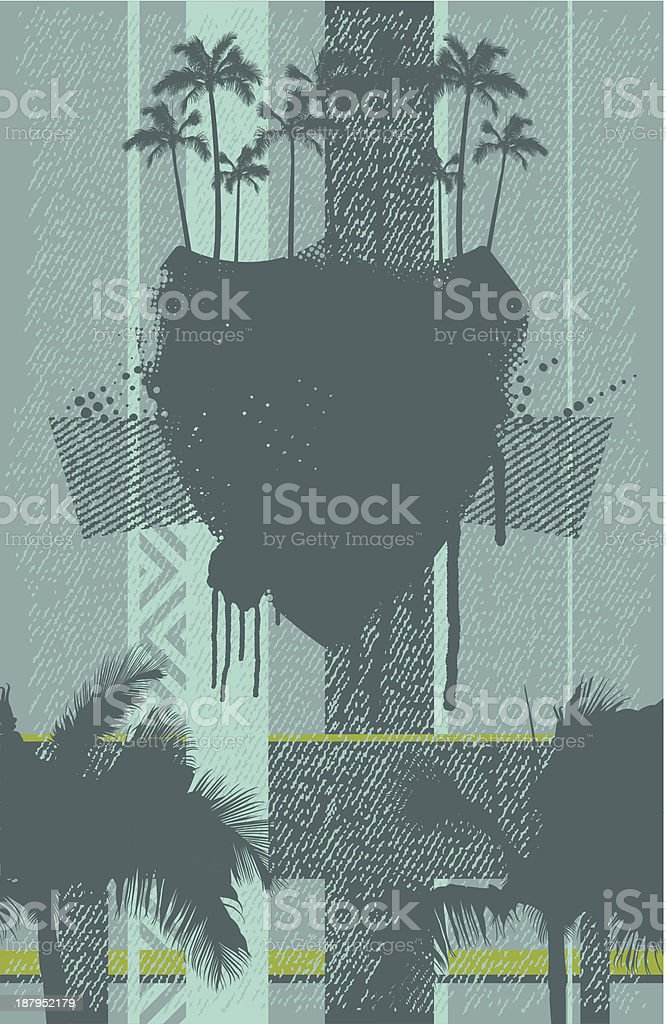 summer banner with grunge shield and palms vector art illustration