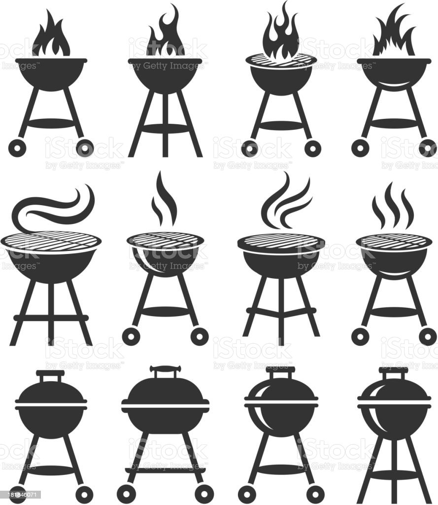 Summer Barbecue black and white royalty free vector icon set vector art illustration