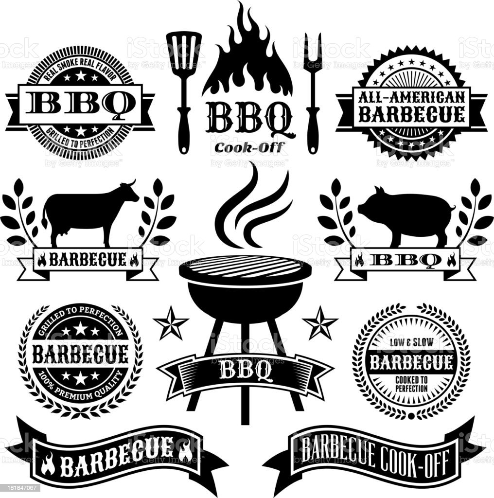 Summer Barbecue black and white royalty free vector icon set royalty-free stock vector art