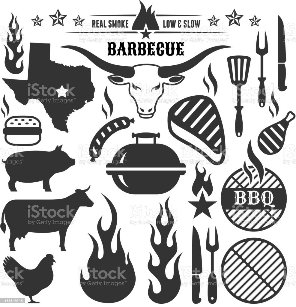 Summer Barbecue grill beef pork and chicken vector icon set vector art illustration