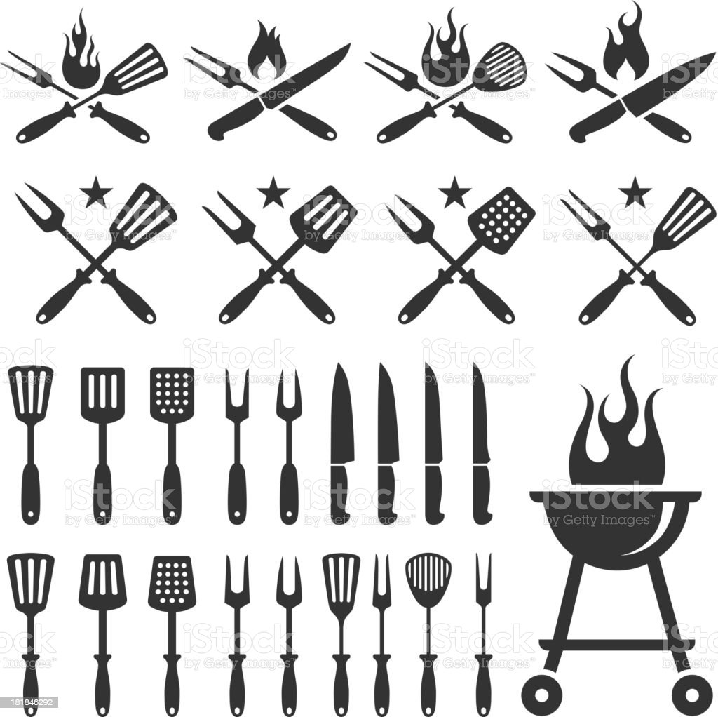 Summer Barbecue black and white set vector art illustration