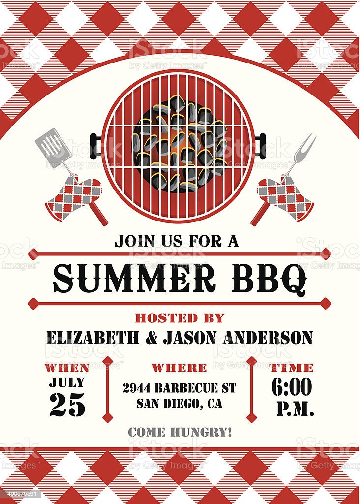 Summer Barbecue Invitation vector art illustration