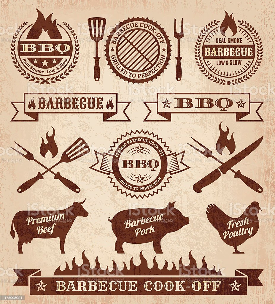 Summer Barbecue royalty free vector icon set vector art illustration