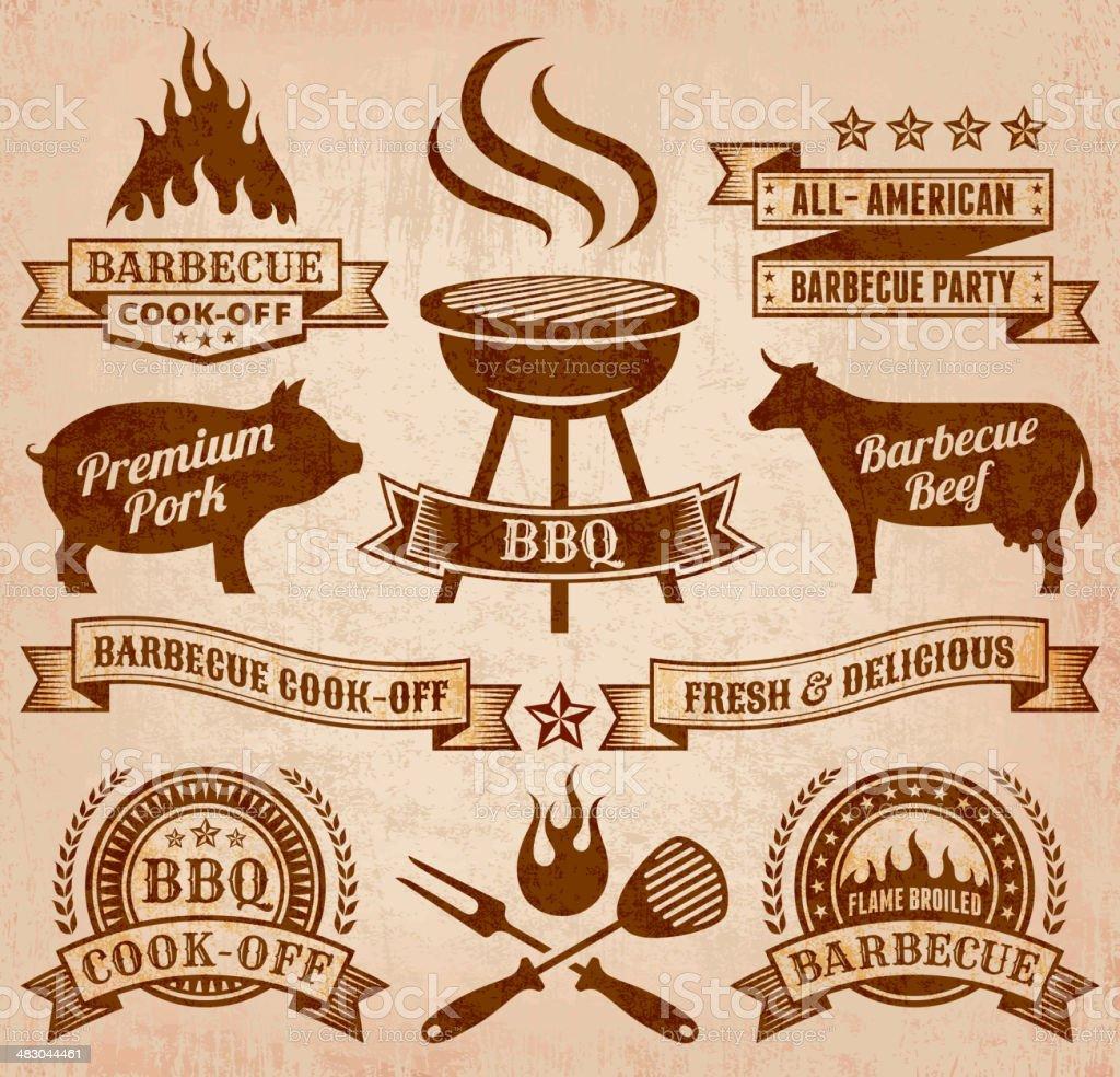 Summer Barbecue royalty free vector icon set vector art illustration