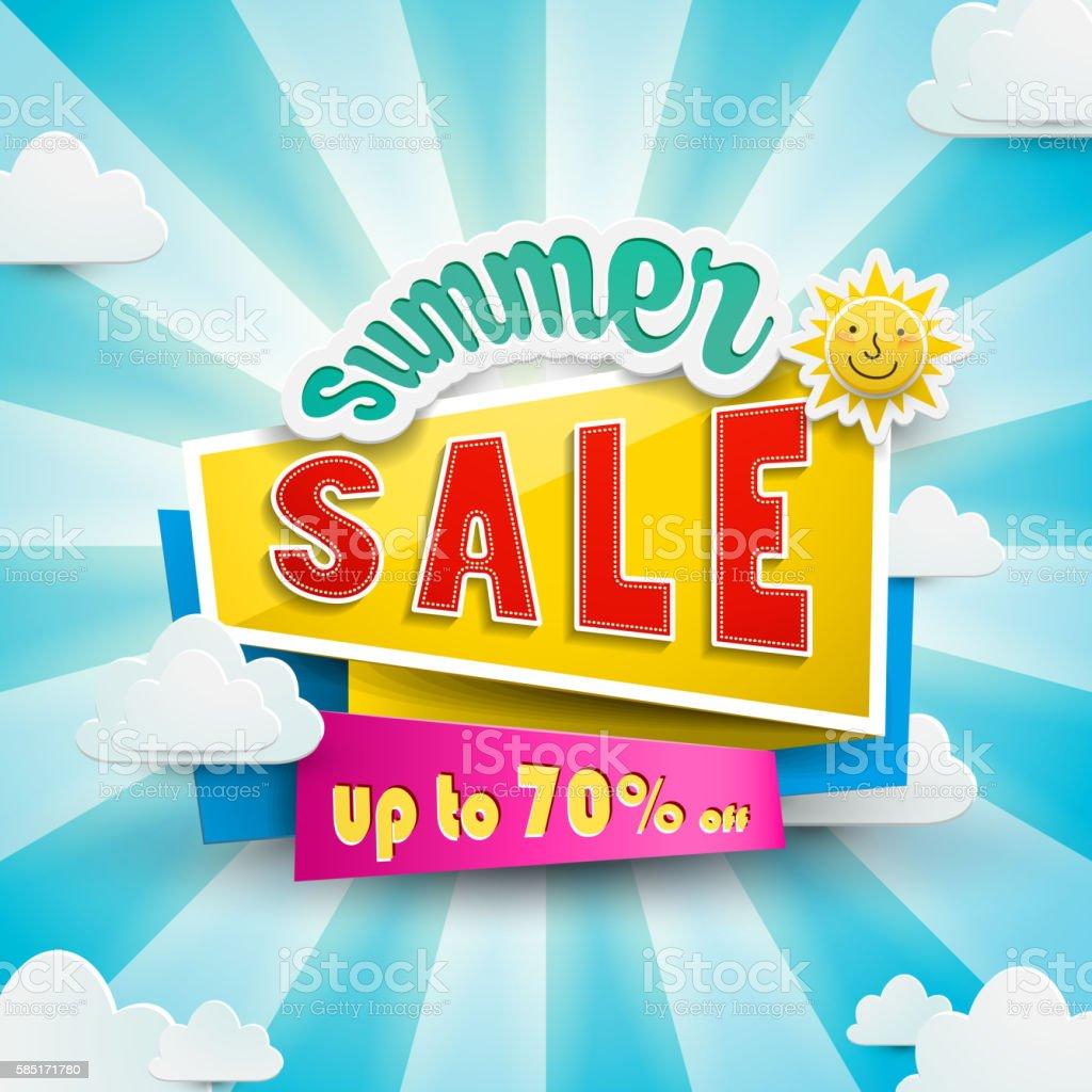 Summer bargain sale poster vector art illustration