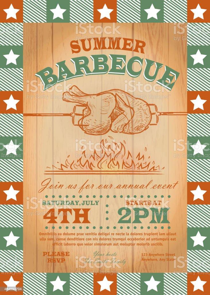 Summer bbq chicken spit fire invitation design template vector art illustration
