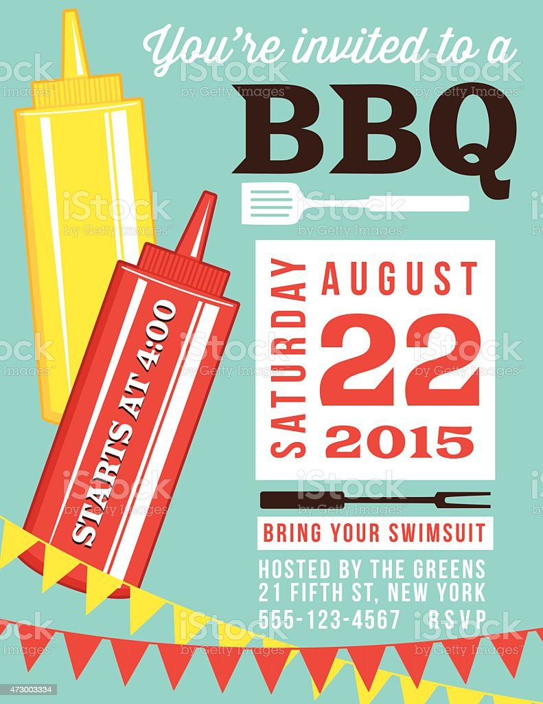 Summer BBQ Invite Template With Ketchup And Mustard vector art illustration
