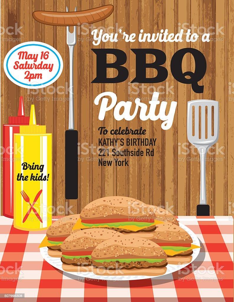 Summer BBQ Party Invitation Template vector art illustration