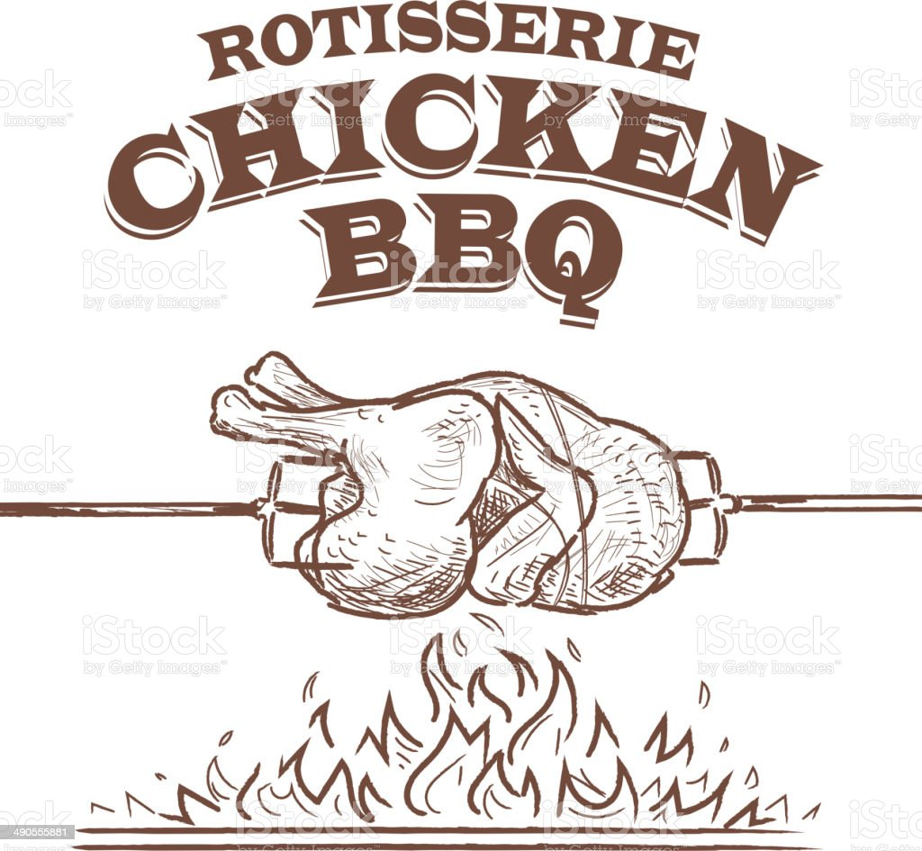 Summer bbq rostisserie chicken design template vector art illustration