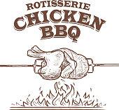 Summer bbq rostisserie chicken design template