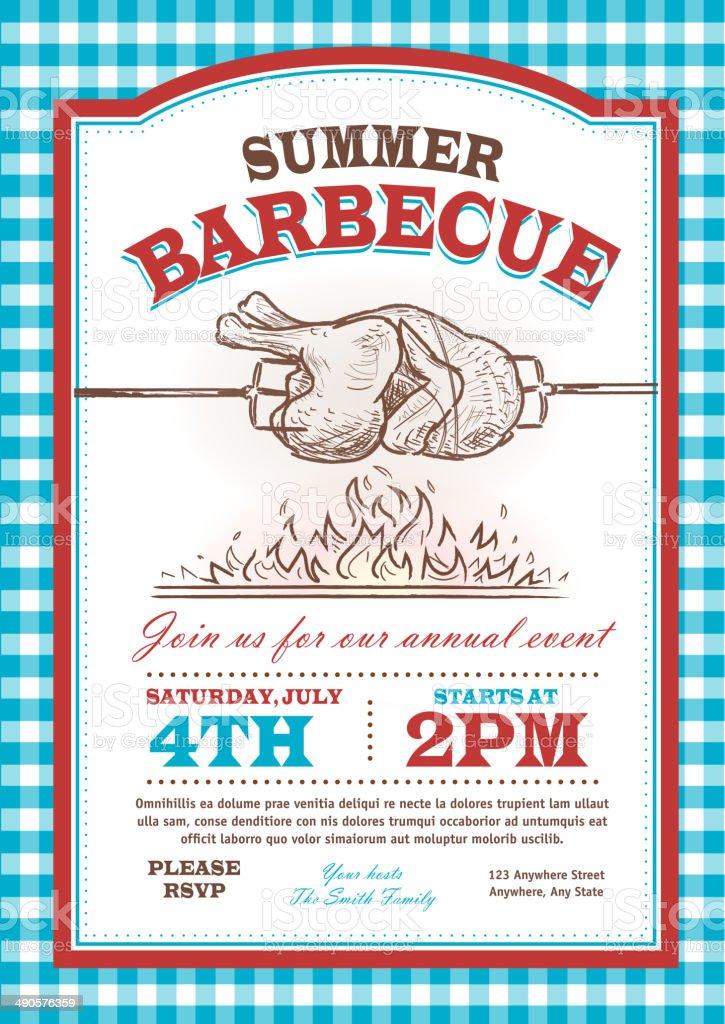 Summer bbq rostisserie chicken Picnic invitation design template vector art illustration