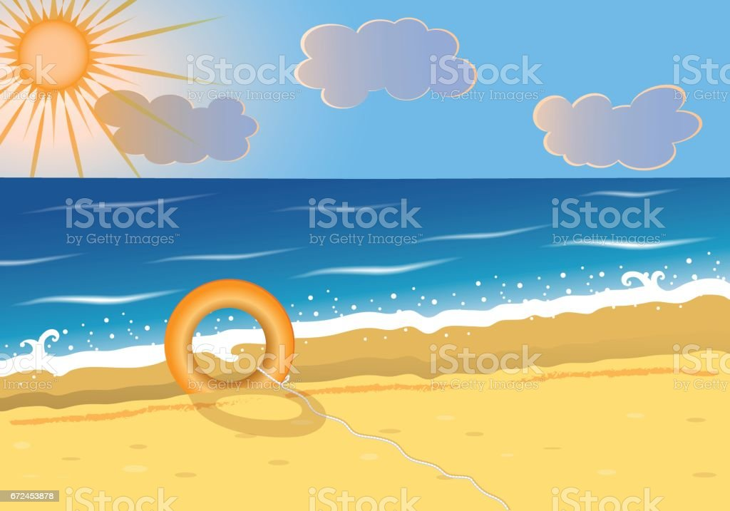 Summer beach background with lifebuoy on sea sand vector art illustration