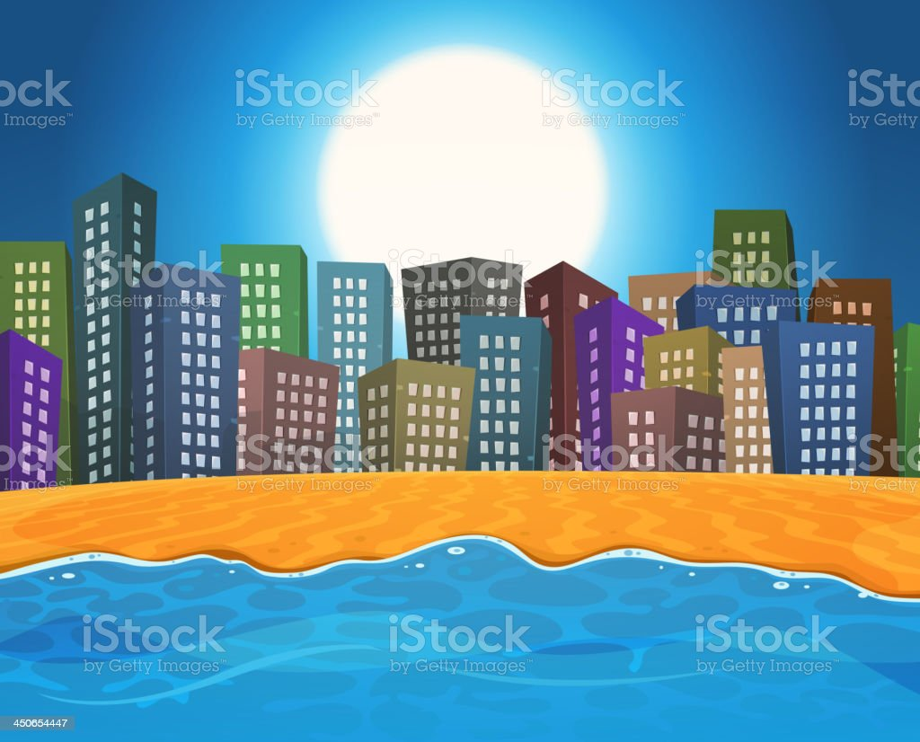 Summer Beach By The City royalty-free stock vector art