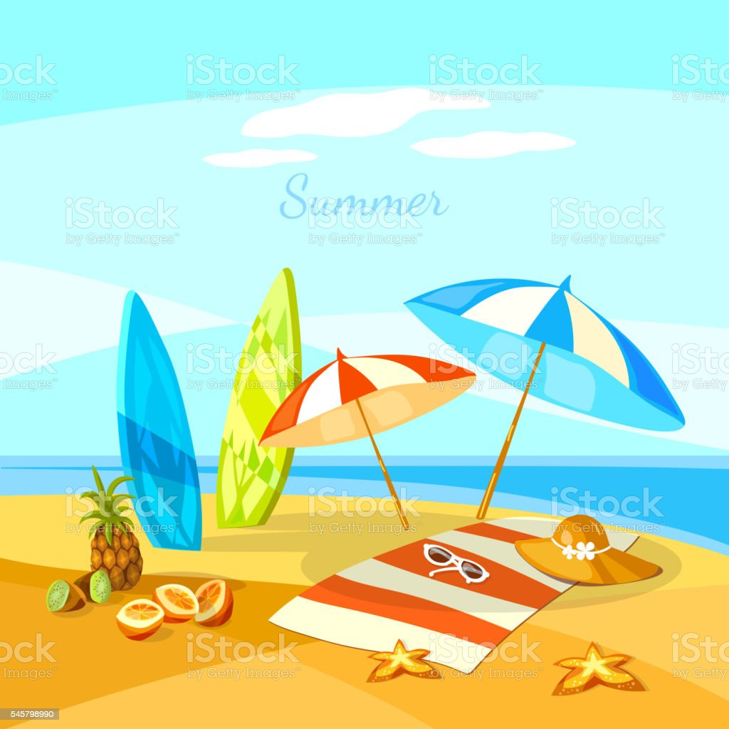 Summer beach cartoon towel umbrella starfish surf boards vector art illustration