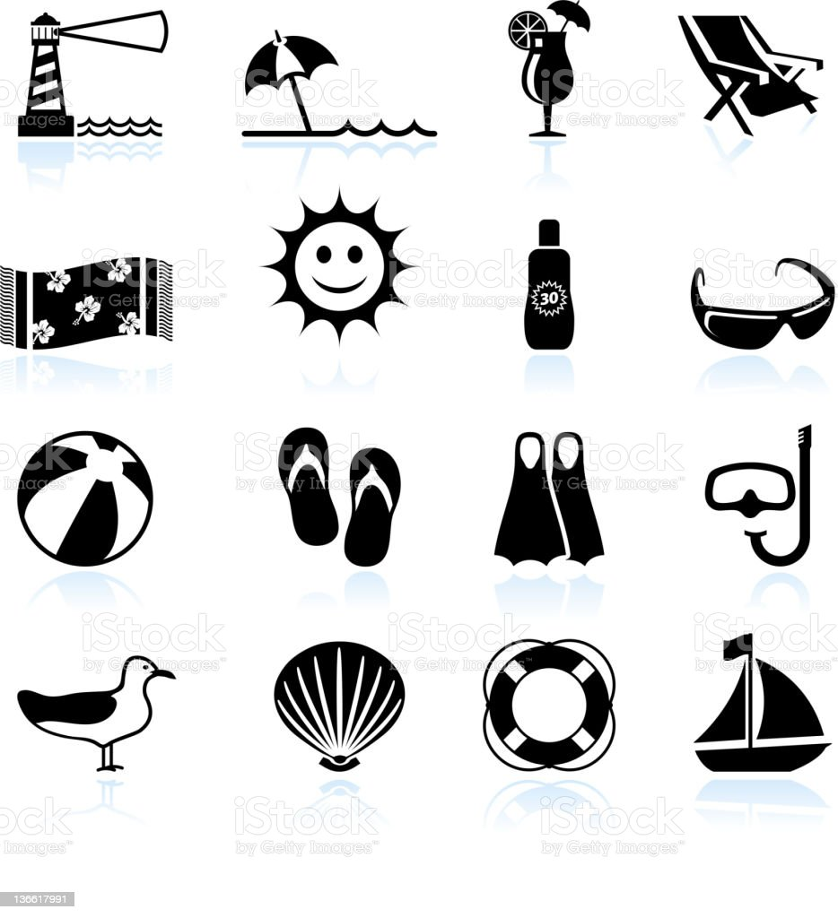 Summer beach fun black and white vector icon set vector art illustration