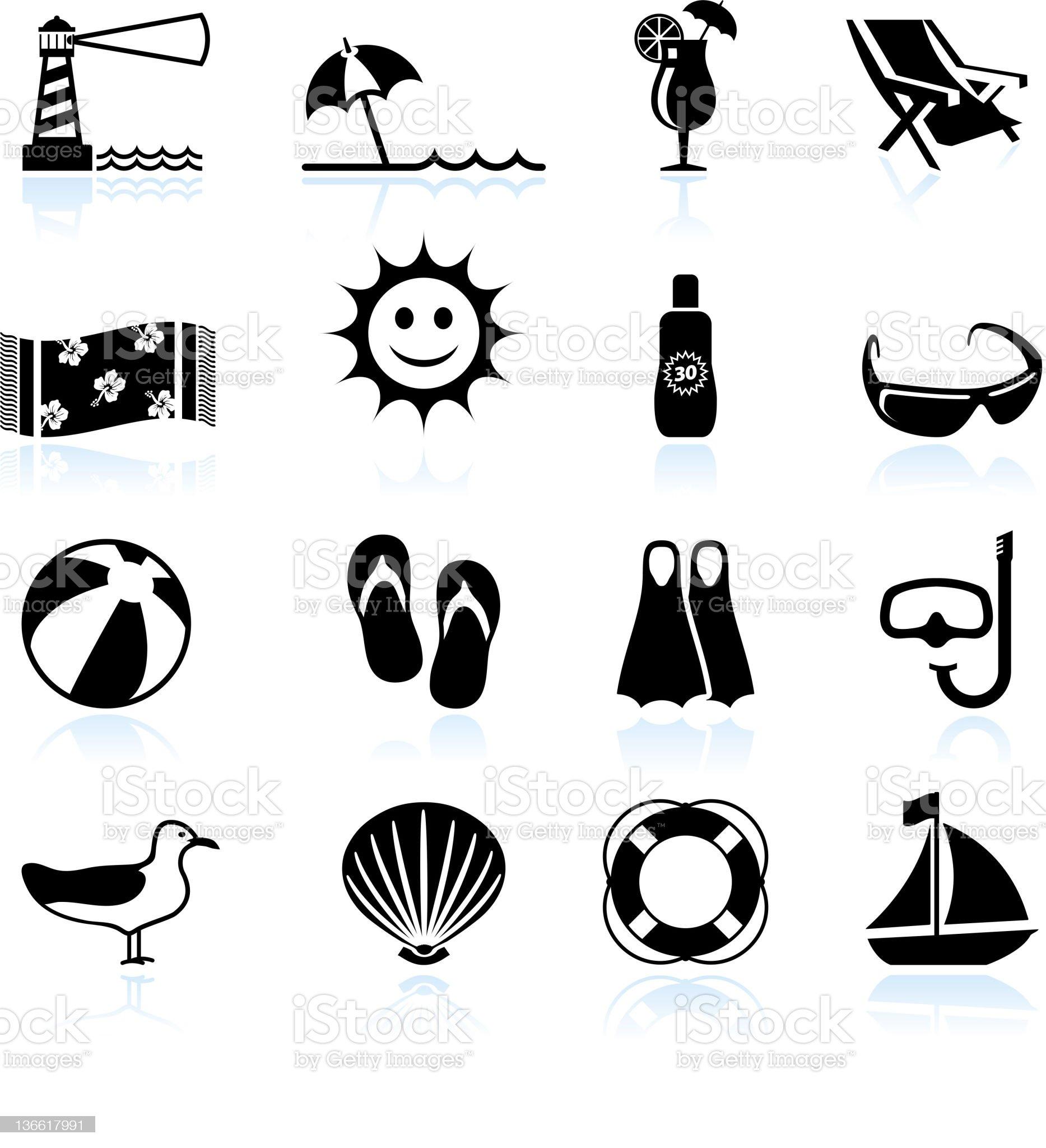 Summer beach fun black and white vector icon set royalty-free stock vector art