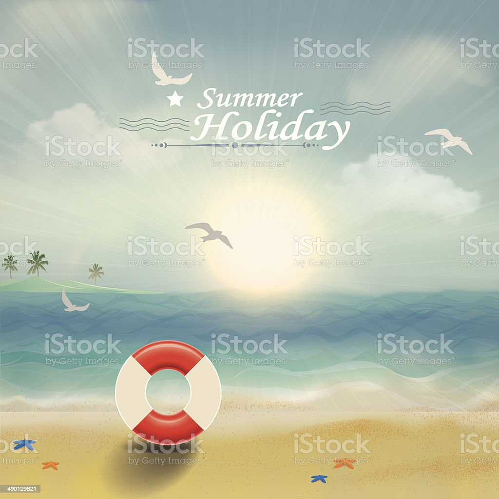 Summer beach holiday vector art illustration