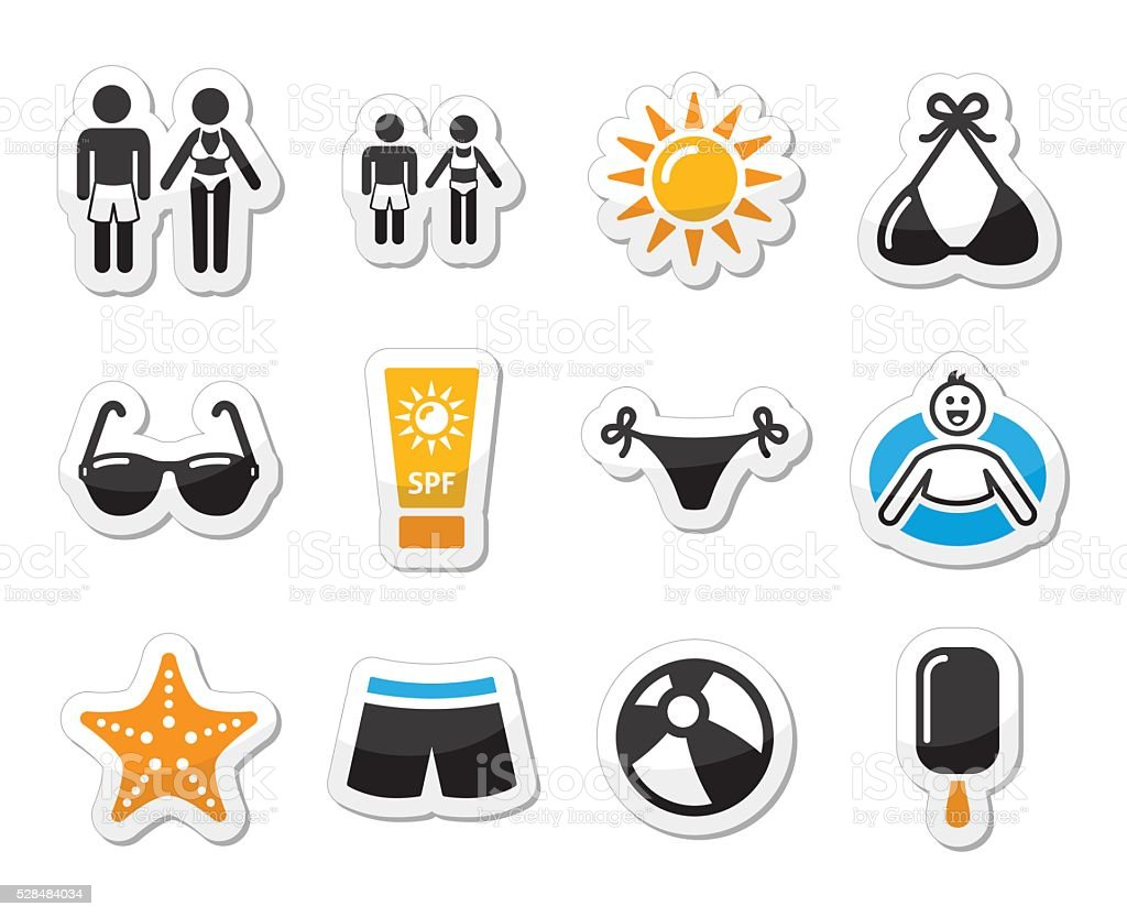 Summer beach holidays vector icons set vector art illustration