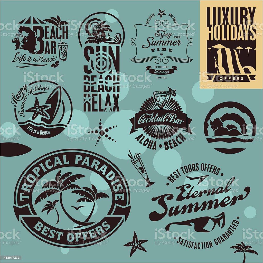 Summer Beach Holidays vector art illustration