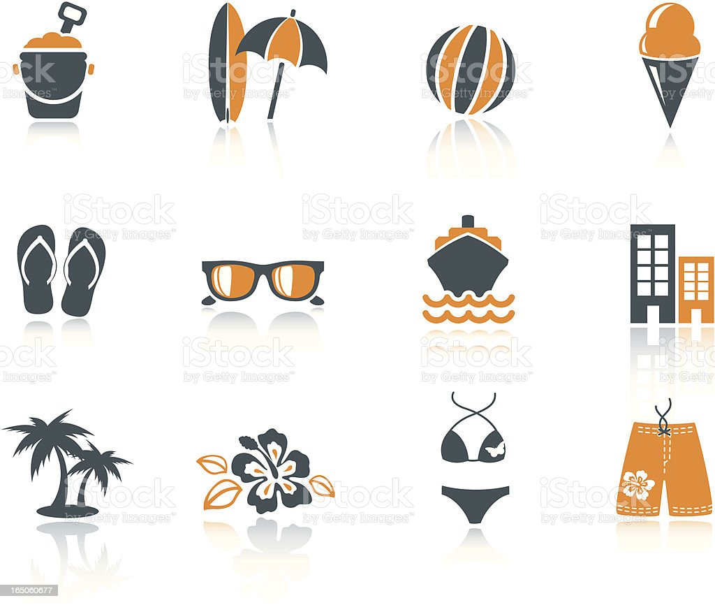 Summer Beach Icons vector art illustration