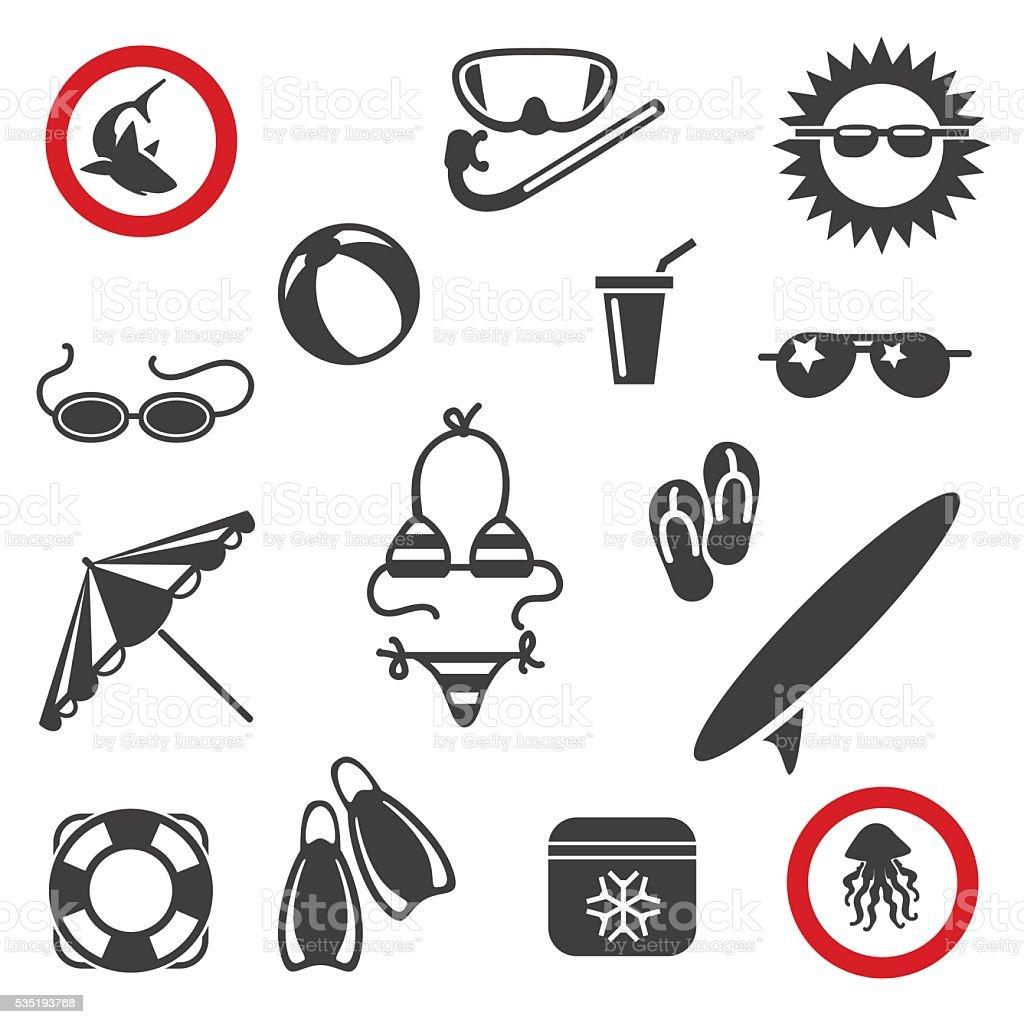 Summer beach icons vector art illustration