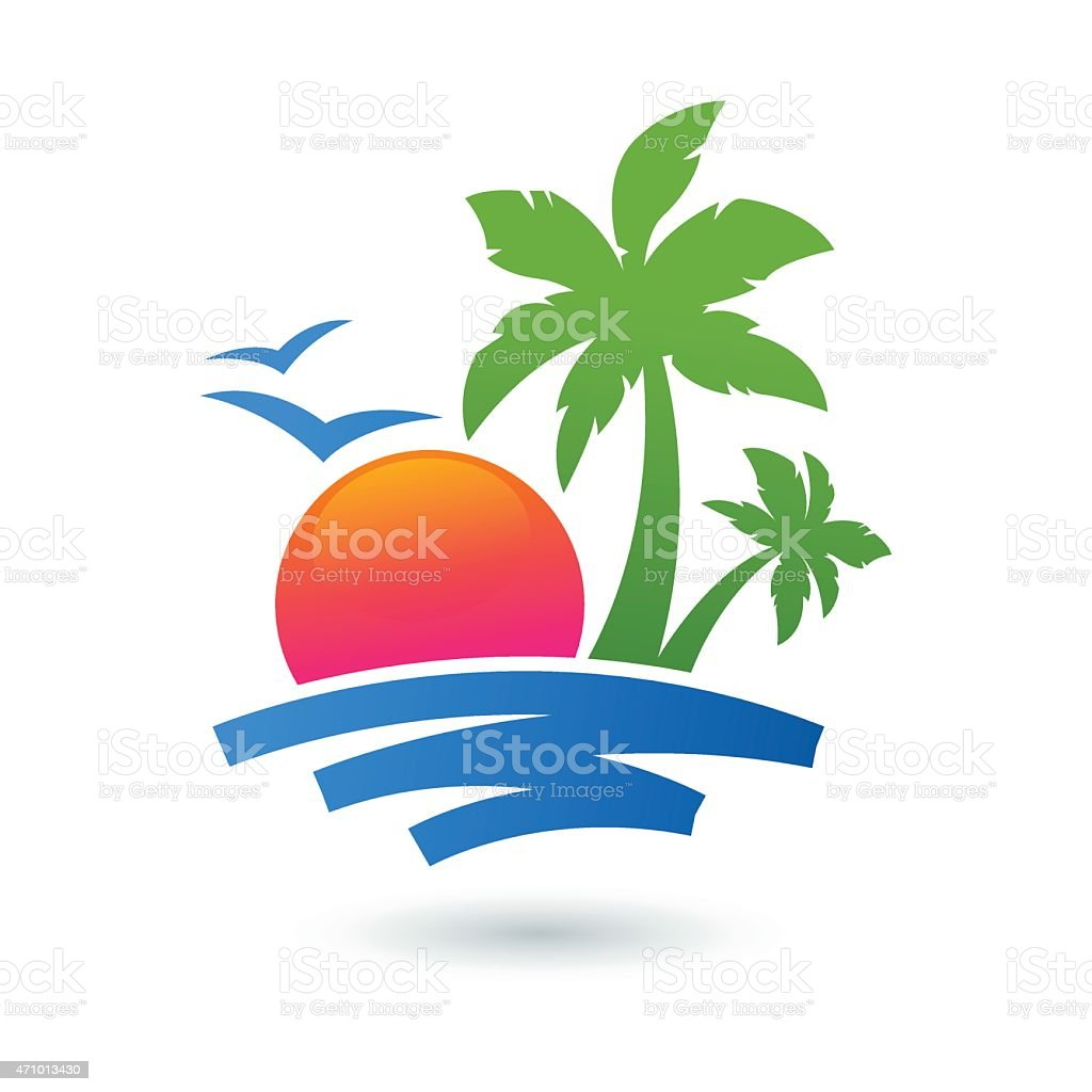 Summer Beach Illustration Sun Palm Tree On Seaside Vector ...