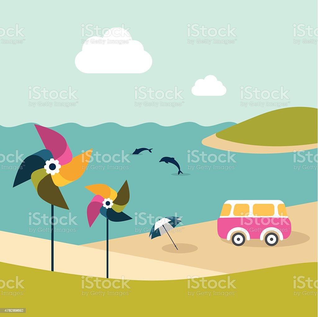 Summer beach island with dolphins, van, umbrella and color pinwheels. vector art illustration