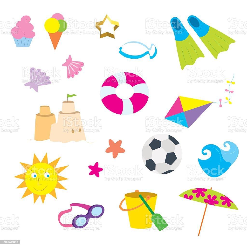 Summer Beach Items vector art illustration