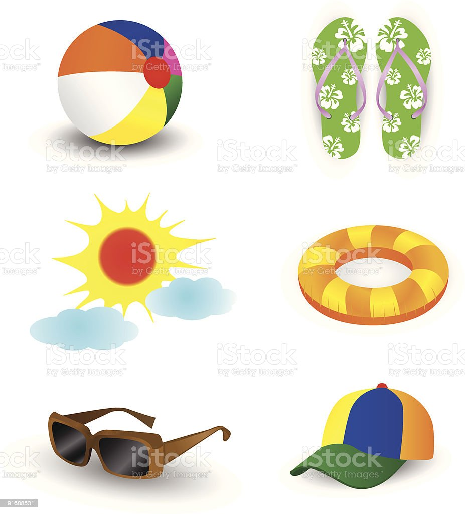 Summer beach items vector art illustration