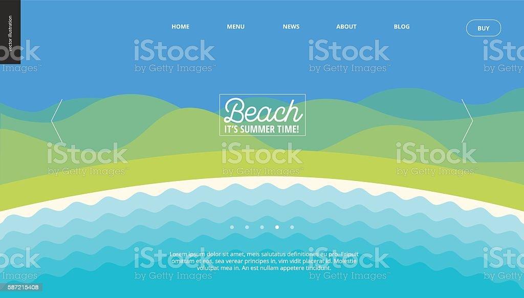 Summer beach landscape background banner template vector art illustration