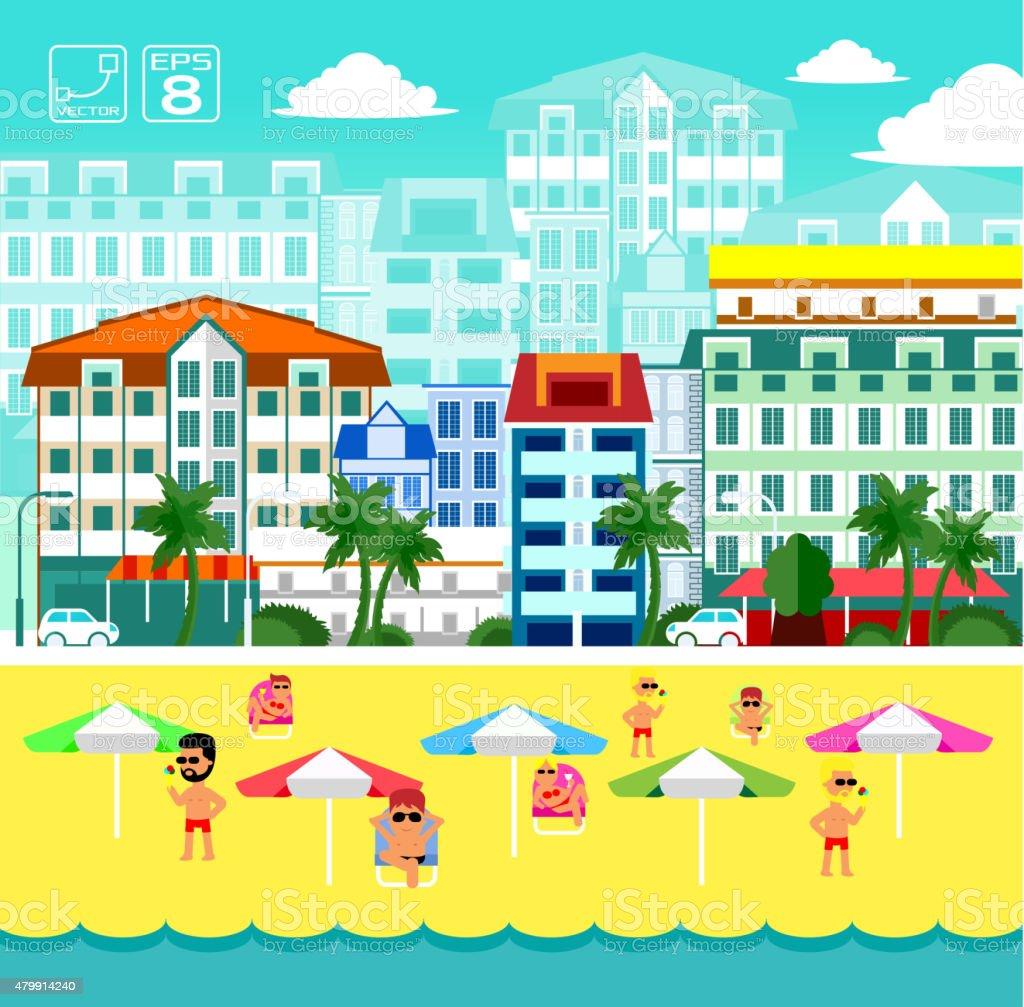 Summer beach life vector art illustration