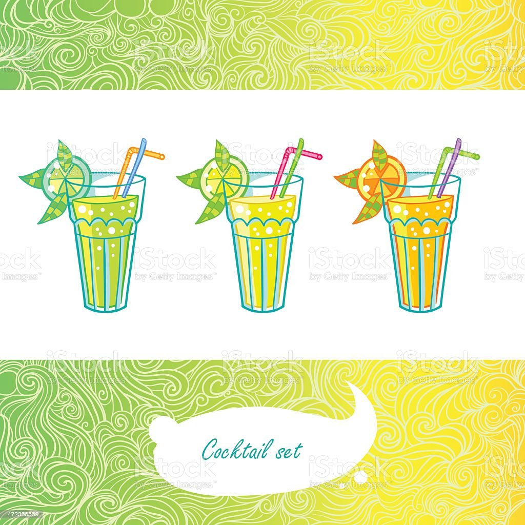 Summer beach mojito cocktail royalty-free stock vector art