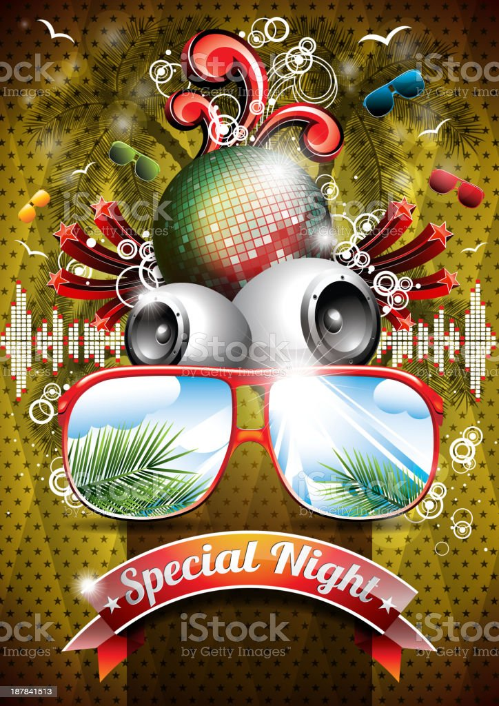 Summer Beach Party Flyer Design with disco ball and sunglasses royalty-free stock vector art