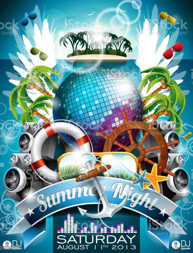 Summer Beach Party Flyer Design with disco ball royalty-free stock vector art