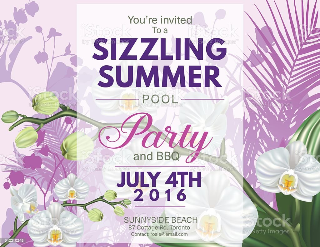 Summer Beach Party Invitation With Orchids and Tropical Plants vector art illustration