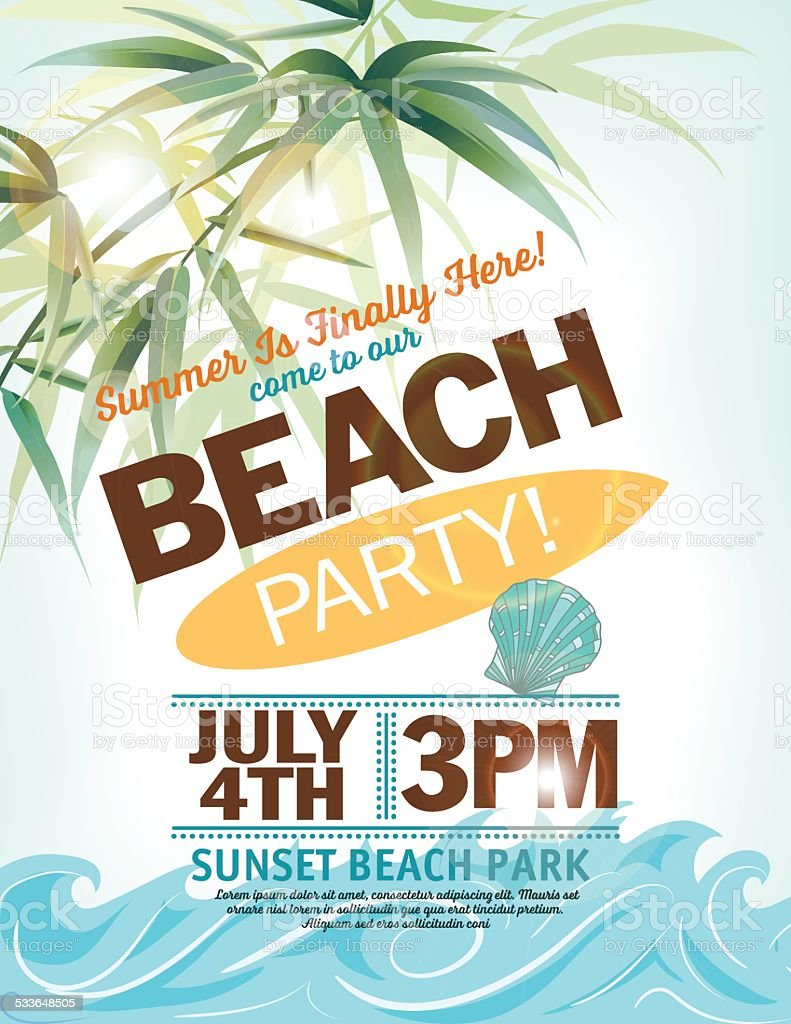 Summer Beach Party Invitation With Palm Leaves Waves vector art illustration
