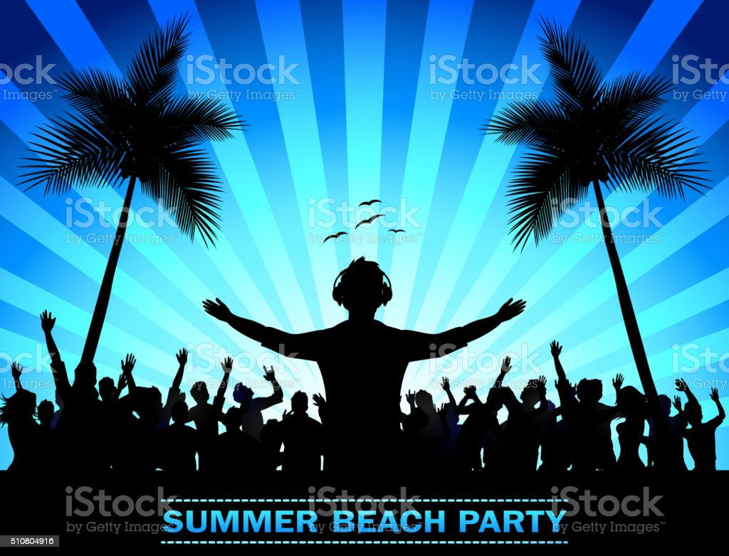 Summer beach party with dance silhouettes vector art illustration