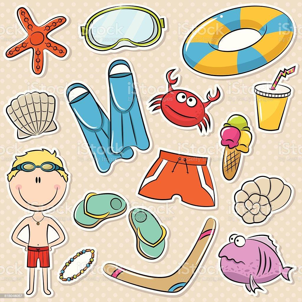 Summer Beach Rest Boy vector art illustration