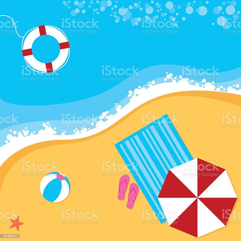 Summer Beach Scene vector art illustration