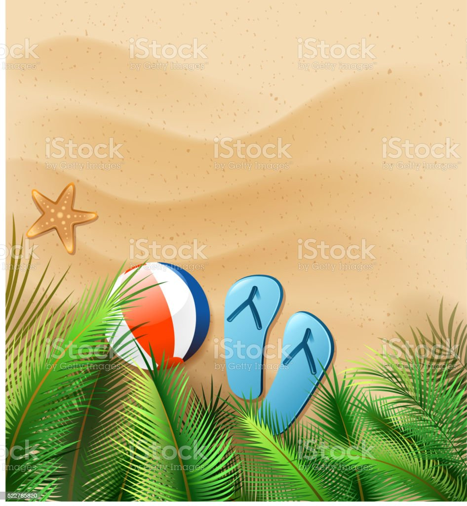 summer beach scenic vector art illustration