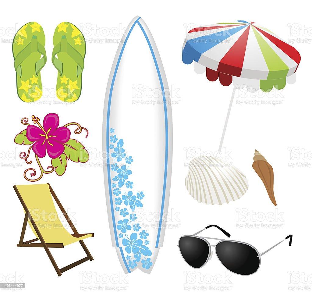 Summer beach set vector art illustration