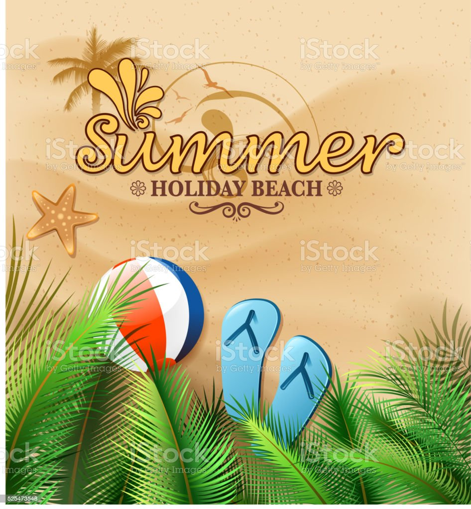 summer beach sign vector art illustration