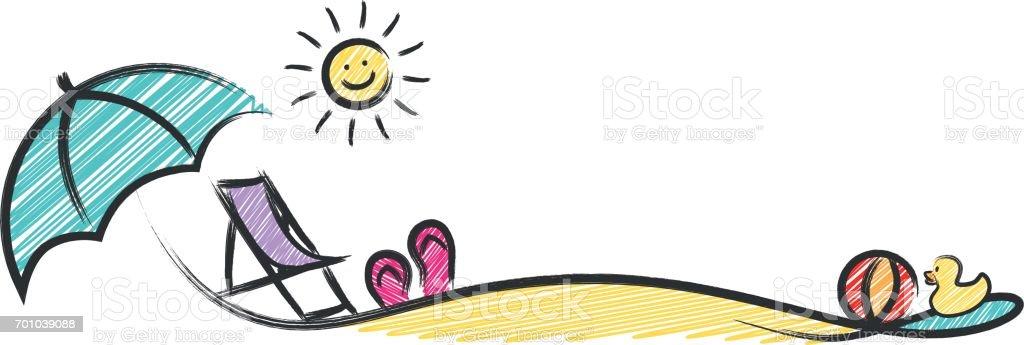 summer beach sketch vector vector art illustration