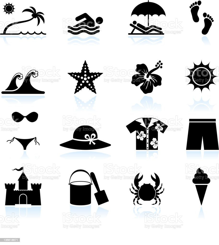 Summer beach time black and white vector icon set royalty-free stock vector art