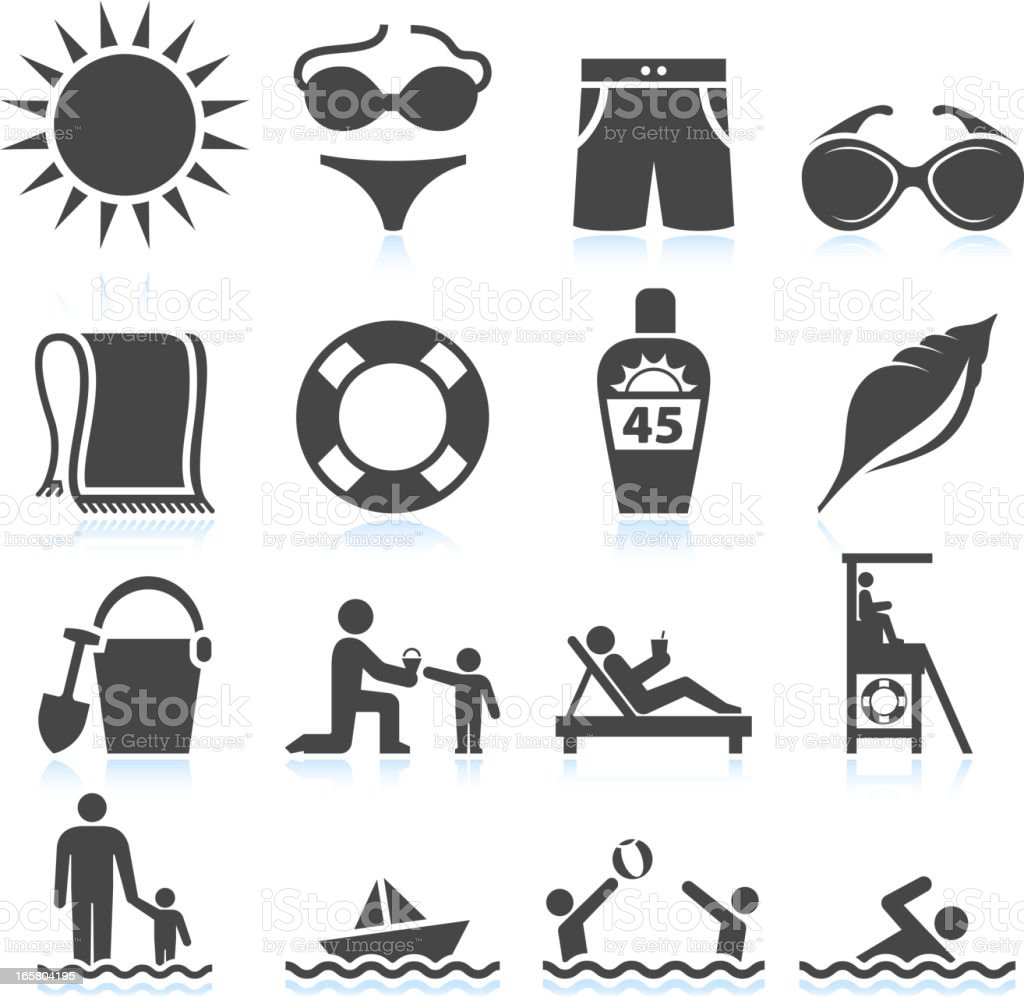 Summer Beach Vacation black & white set vector art illustration