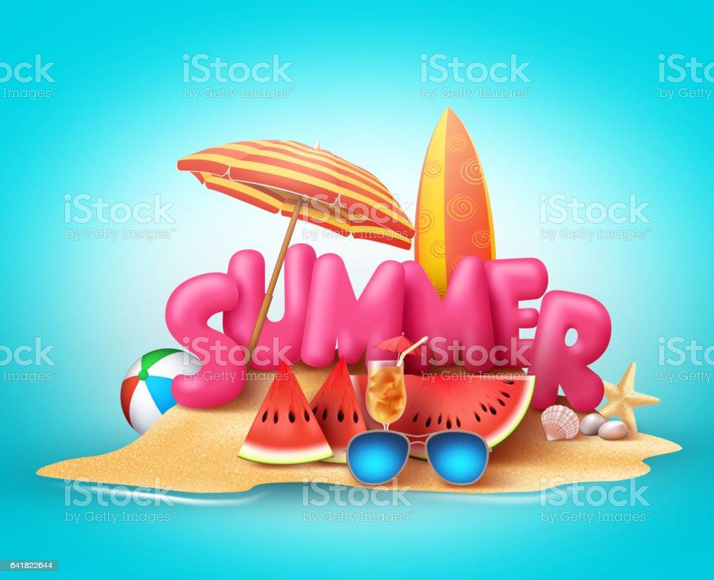 Poster design 3d - Banner Sign Holiday Event Poster Sand Sky Summer Beach Vector Banner Design 3d